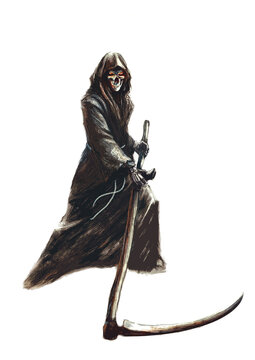 grim reaper in a hood with a scythe, on a white background - fantasy illustration