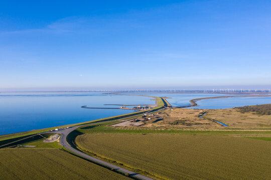 Coastal landscape in the Wadden Sea National Park near Elisabeth-Sophien-Koog