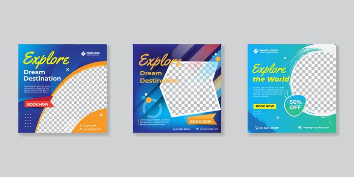 Social media design post travel, Template for social media post, template design for travel ads.