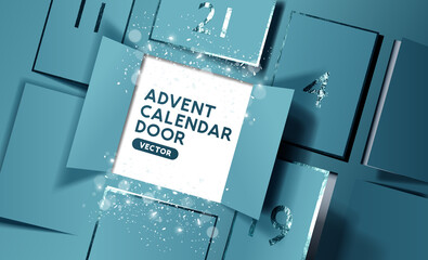 Christmas advent calendar door opening to reveal a message. Realistic vector illustration.