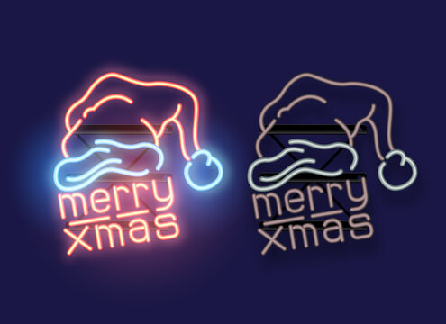 Merry Xmas neon sign with santa's hat. On and off versions of the light. Christmas Vector illustration.