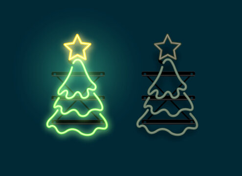 Glowing neon christmas tree sign lgiht with on and off versions. Vector illustration