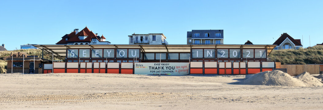 Closed beach pavilion during Covid lock-down in autumn 2020; Noordwijk, the Netherlands