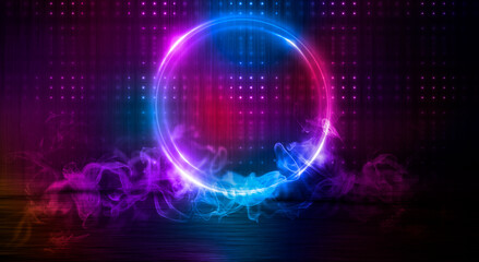 Dark abstract background. Neon light circle figure. Reflection of neon light on the water.  Fotomurales