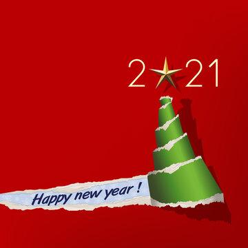Carte de vœux 2021 avec un papier de couleur rouge déchiré, qui évoque un sapin de noël vert surmonté d'une étoile dorée.