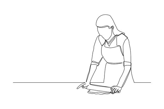 Continuous line drawing of chef woman rolling bakery pizza dough use wooden rolling pins. One line concept of bake receipt cooking. Vector illustration