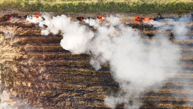 Aerial view of stubble of burning or crop burning .Vurning dry grass after harvest.Drone shot flying