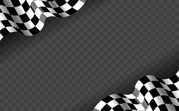 Banner with waving checkered flag along the edges on a transparent background. Vector illustration