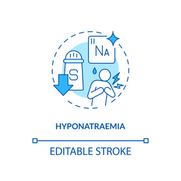 Hyponatraemia concept icon. Antidepressants effect idea thin line illustration. Low sodium concentration. Altered personality, confusion. Vector isolated outline RGB color drawing. Editable stroke
