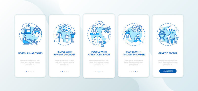 SAD risk groups onboarding mobile app page screen with concepts. Arctic inhabitants, people with ADHD walkthrough 5 steps graphic instructions. UI vector template with RGB color illustrations