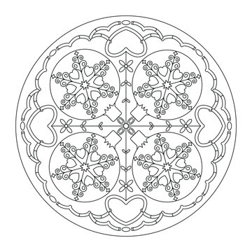 Christmas mandala. Coloring page. Pretty Christmas balls and hearts. Black and white. Vector illustration.