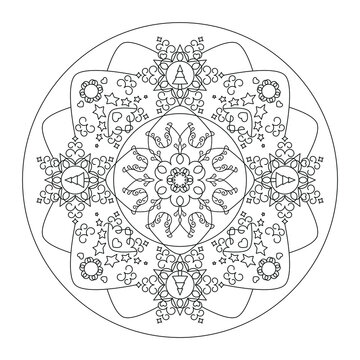 Christmas mandala. Coloring page. Pretty Christmas tree, star and heart.  Black and white. Vector illustration.