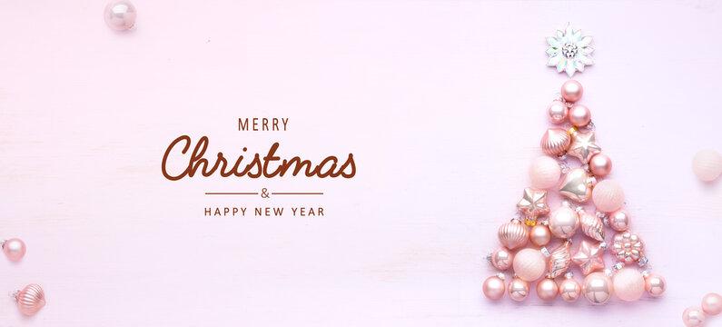 Art Christmas tree decoration on light background