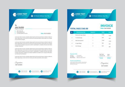 Letterhead Or Invoice Set Template Design