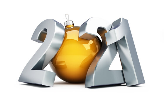 New Year 2021 on a white background 3D illustration, 3D rendering