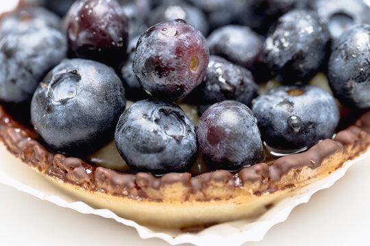 Close up einer Blaubeer Tartelette