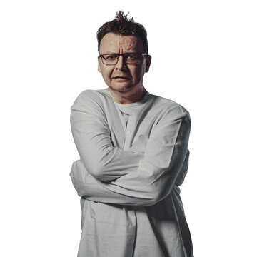 madman in straitjacket on a white background