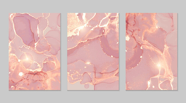 Luxury pink and gold marble abstract background set. Alcohol ink technique vector stone textures. Creative paint with glitter. Template for banner, poster design. Fluid art