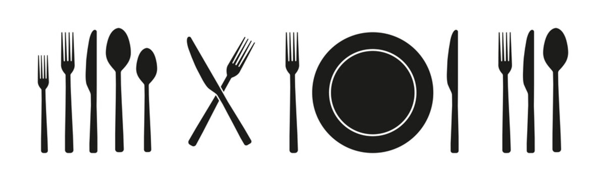 Spoon, fork, knife and plate set icons on black background. Silhouettes of cutlery. Food, dinning, kitchen, menu, restaurant, signs. Vector illustration.