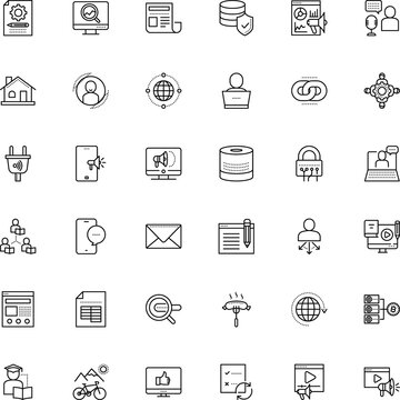 internet vector icon set such as: past, stylish, round, graph, asynchronous learning, pc, socket, thumb, monitoring, estate, manager, link, farm, e-learning, analysis, connect, colourful, headline