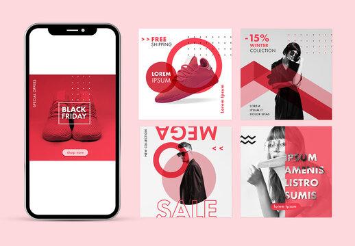 Minimal Red Style Social Media Post Layout Set