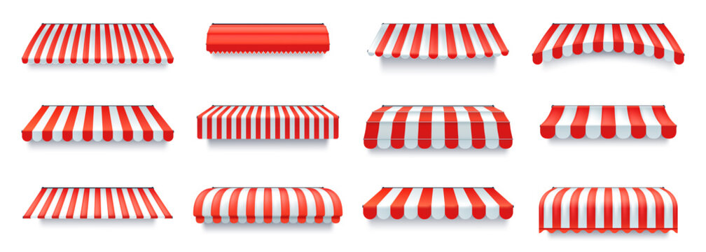 Shop canopy. Cafe sunshade, store awning or roof with red and white stripes isolated vector set
