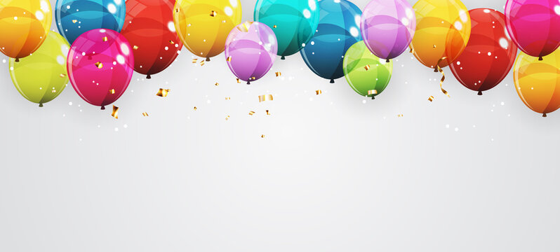 Abstract Holiday Background with Balloons. Can be used for advertisment, promotion and birthday card or invitation. Vector Illustration