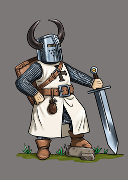 Teutonic knight cartoon. Template for coloring book.
