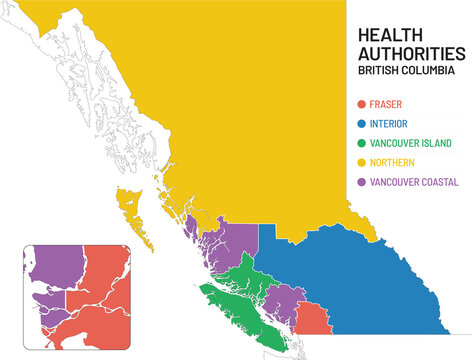 British Columbia health authorities map. Simple map of BC Canada illustrating and naming the health boundary for each health authority region, with closeup of Vancouver. Information sheet or guide.