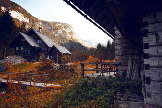 old wooden house in the mountains