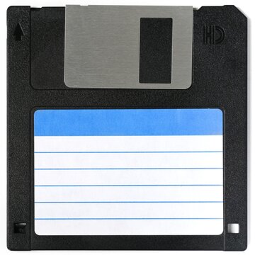 Floppy disk with clear label to write on it