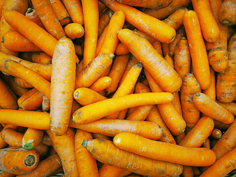 Group of orange carrots in the supermarket, Carrots background, Fresh carrots from the farm field, lots of carrots in the market square. Healthy food concept.