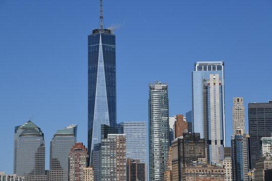 Die Skyline vom Financial District in New York, Downtown Manhattan.