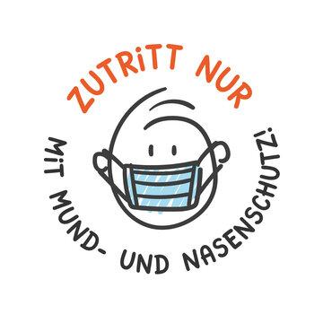 Strichfiguren / Strichmännchen: Zutritt nur mit Mund- und Nasenschutz! (Nr. 580)