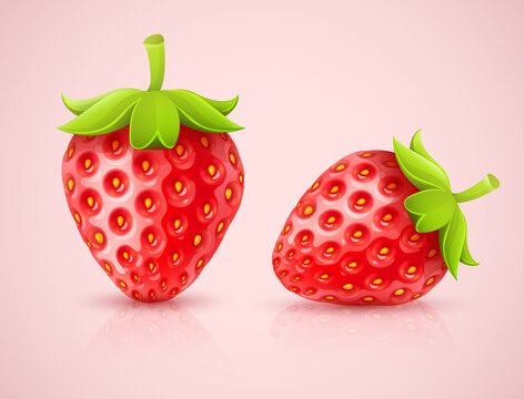 Red strawberries. Isolated on white background. Illustration.