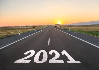 Fototapeta 2021 in asphalt road obraz