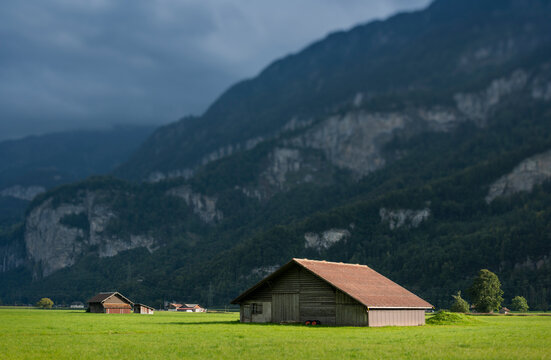 Barns and farmhouses in valley leading up to the village of Meiringen, Bern, Switzerland