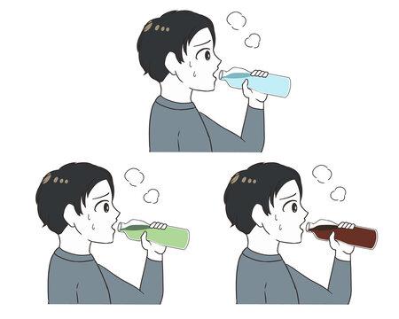 ペットボトルで水分補給 男の子