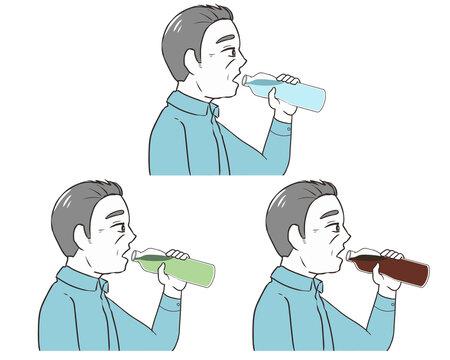 ペットボトルで飲む 高齢男性