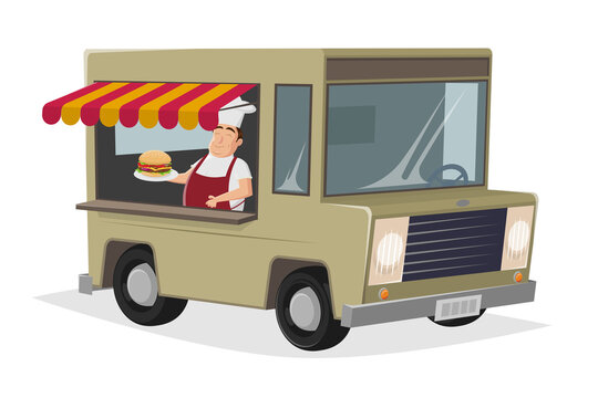 food truck cartoon illustration with happy chef serving a burger