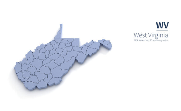 West Virginia State Map 3d. State 3D rendering set in the United States.