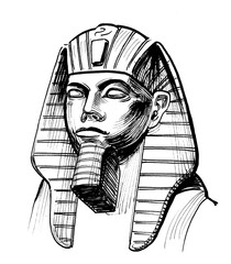 Egyptian pharaoh sculpture. Ink black and white drawing