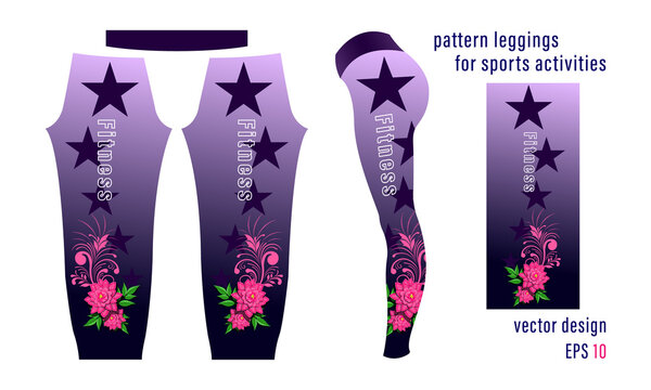 flower composition pattern and pointed stars leggings for sports activities