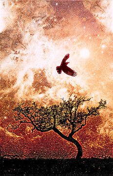 Ebook cover template - Lone tree silhouette with bird in flight with glowing orange galaxy stars digital illustration - elements of this image are furnished by NASA