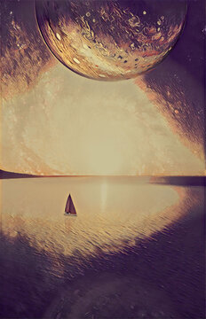 Dreamy fantasy landscape of lone sailboat sailing at sunset near coastline. Book cover template digital illustration. Elements of this image furnished by NASA