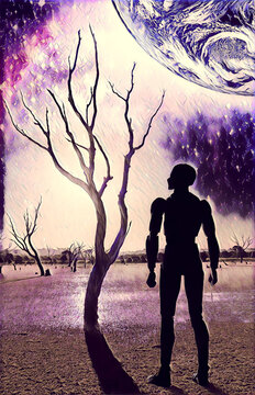 Book cover design - Futuristic scene with Robot standing on barren land with bare trees and planet rising - digital illustration. Elements of this image are furnished by NASA