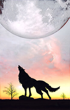 Fantasy landscape for e book cover - Howling wolf silhouette with huge planet rising in unreal sky digital illustration. Elements of this image furnished by NASA