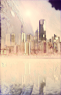 Science fiction novel book cover template - Modern megapolis skyline and huge alien planet reflecting in tranquil waters at sunset digital illustration. Elements of this image are furnished by NASA