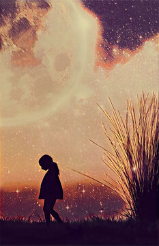 Fantasy book cover template - Little girl silhouette and beach grass at sunset with stars and huge planet in the sky - digital illustration. Elements of this image are furnished by NASA