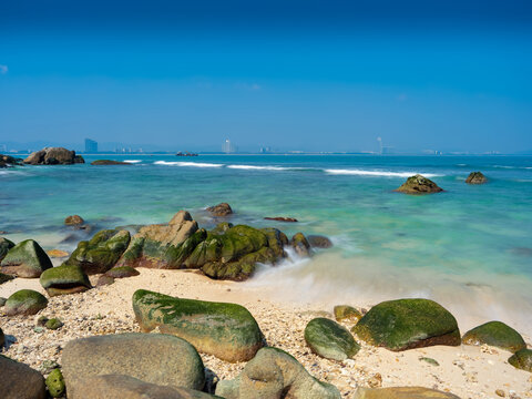 Beaches of  Wuzhizhou islet in Sanya